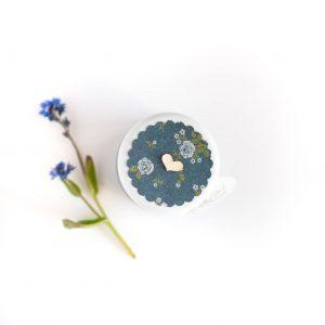 Podziękowanie dla gości granatowy w błękitne kwiatki