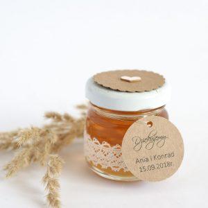 Słoiczek z miodem bawełniana koronka i złota nitka