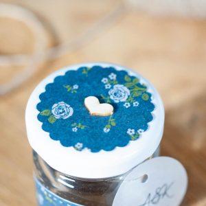 pokrywka słoiczka granatowy w białe kwiatki