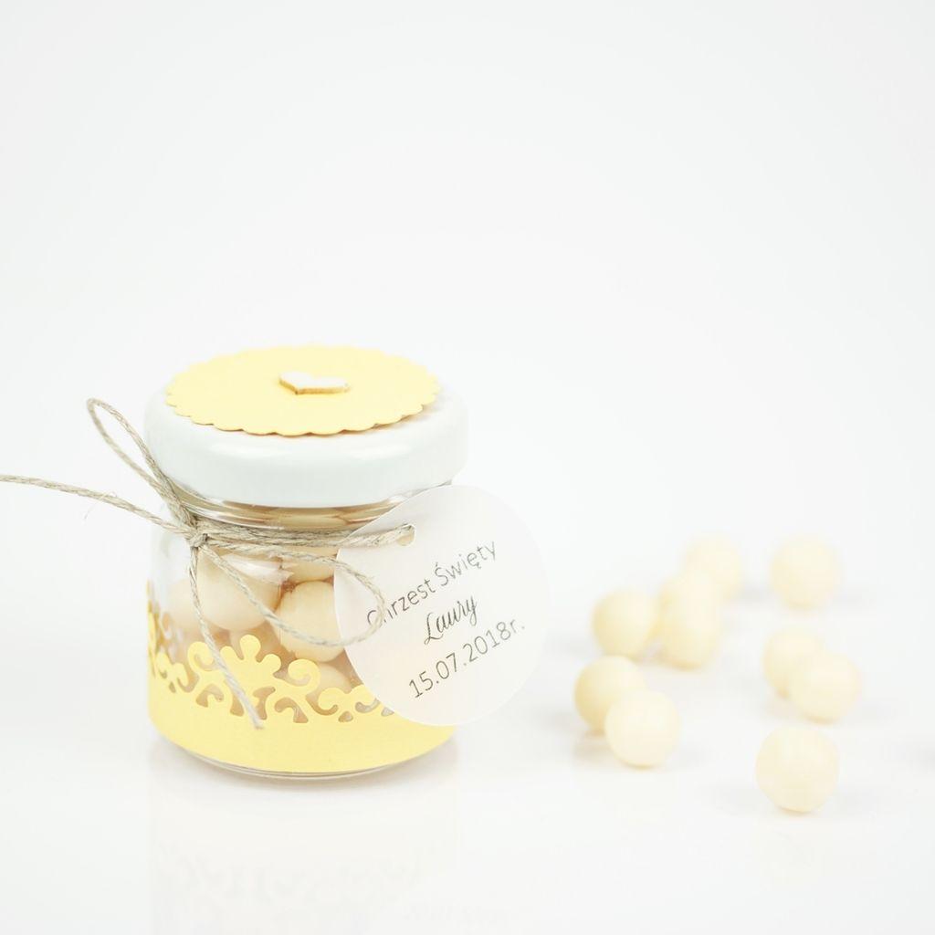 słoiczek z drażami cytrynowy żółty