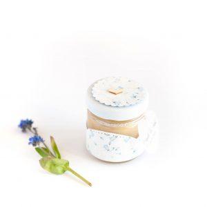 Podziękowanie dla gości Słoiczek z miodem błękitne kwiatki