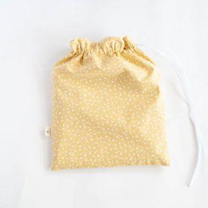 Woreczek bawełniany żółty drobne kwiatki